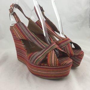 Platform sandals striped fabric slingback wedges 9